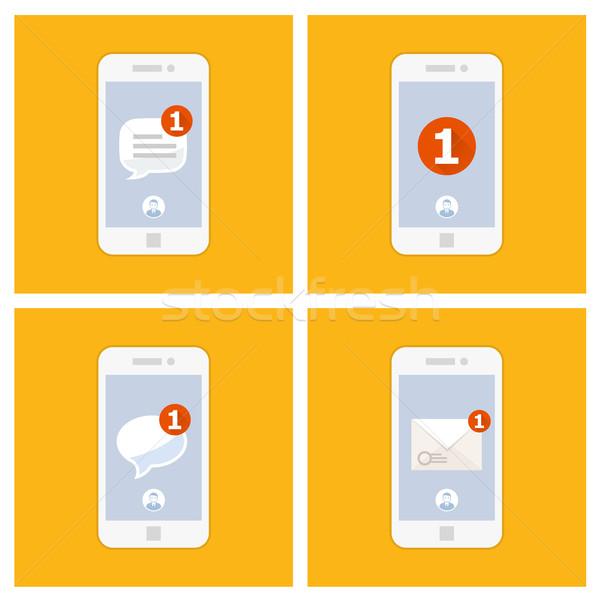 új sms üzenet okostelefon képernyő internet Stock fotó © gomixer