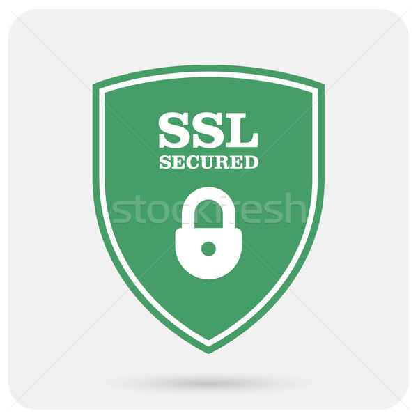 Ssl certificate shield with padlock - secure website emblem Stock photo © gomixer