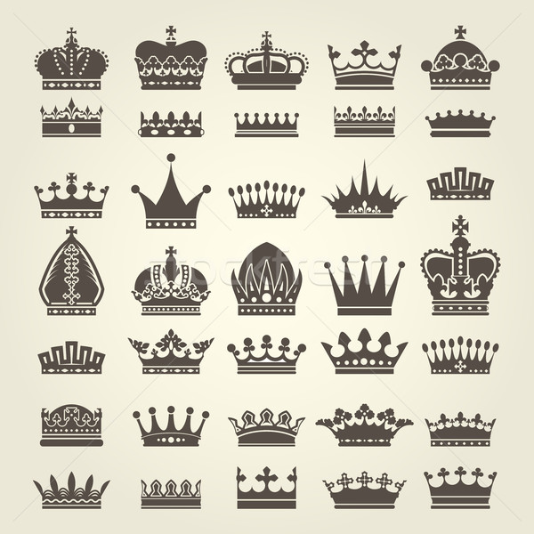 Crown icons set - monarchy authority and royal symbols Stock photo © gomixer
