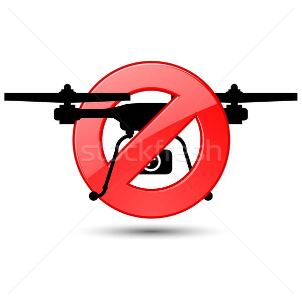 Quadcopter flights prohibited sign - silhouette of drone Stock photo © gomixer