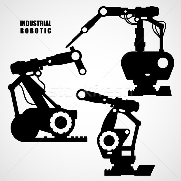 Industrial robotics - conveyor machinery tools silhouettes Stock photo © gomixer