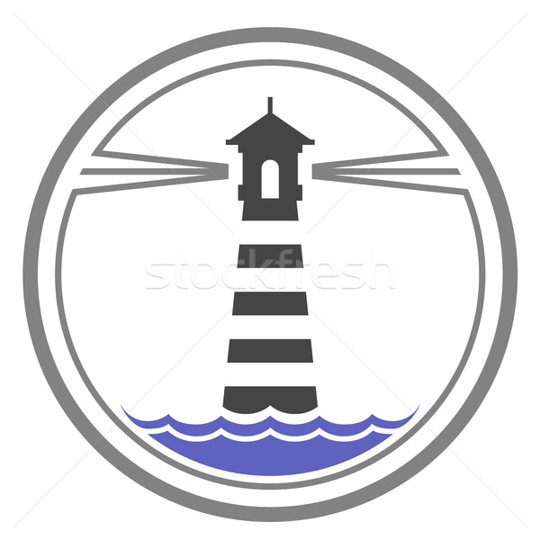 Maritime lighthouse icon on waves Stock photo © gomixer