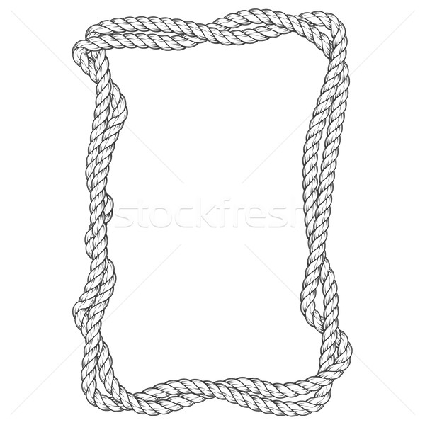 Twisted rope frame - two interlaced ropes square border Stock photo © gomixer