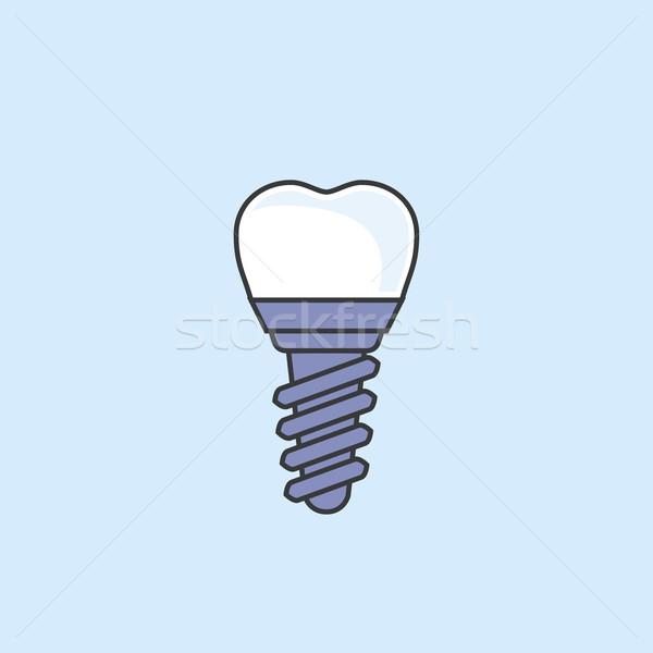Dental implant - teeth prosthetics simple icon Stock photo © gomixer