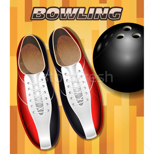 Bowling shoes and ball on bowling court parquet surface Stock photo © gomixer