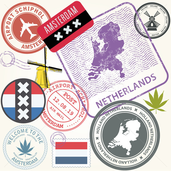 Netherlands travel stamps set - Holland journey symbols, Amsterd Stock photo © gomixer
