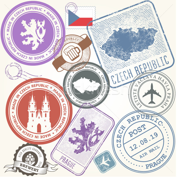 Czech travel stamps set - Prague journey symbols Stock photo © gomixer