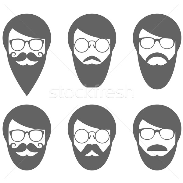 Face of bearded man - hipster in glasses with moustache Stock photo © gomixer