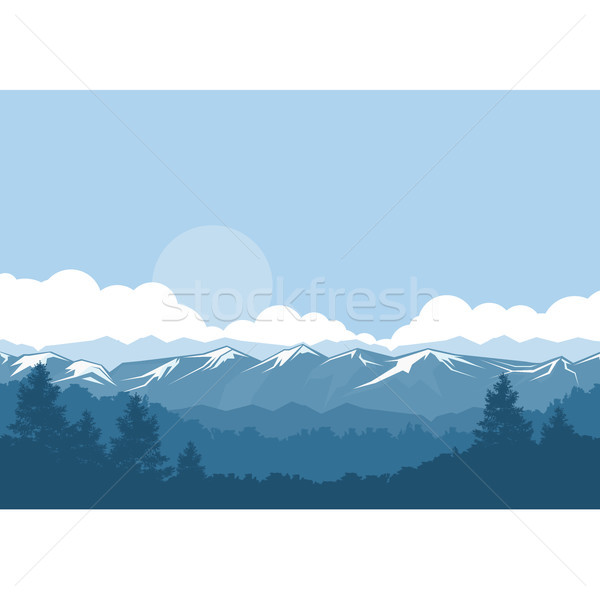 Mountains and forest foggy landscape with snow-covered peaks Stock photo © gomixer