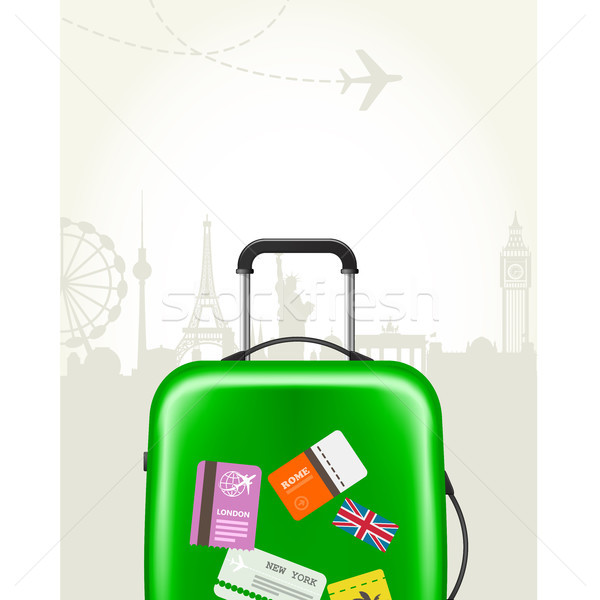 Modern suitcase with travel tags - journey baggage Stock photo © gomixer