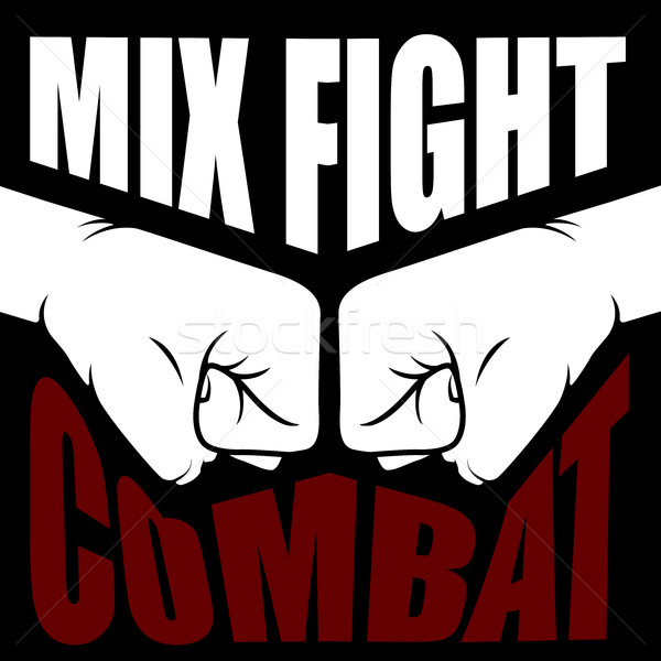 Mix fight combat emblem - collision of two fists Stock photo © gomixer