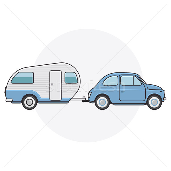 Retro car with camper trailer - travel on vintage automobile Stock photo © gomixer