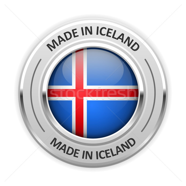 Silver medal Made in Iceland with flag Stock photo © gomixer