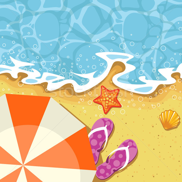 Seaside summer vacation - parasol, send and wave Stock photo © gomixer