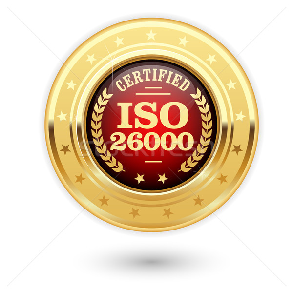 ISO 26000 certified medal - Social responsibility Stock photo © gomixer
