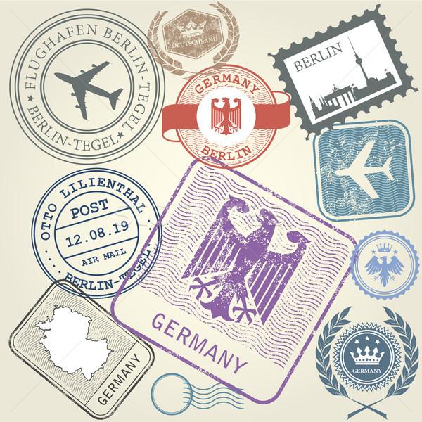 Reizen postzegels ingesteld Duitsland Berlijn reis Stockfoto © gomixer