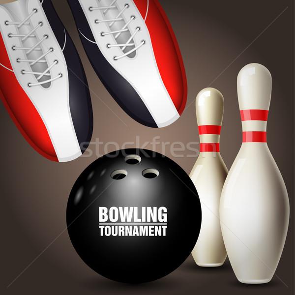 боулинг обувь мяча плакат обуви Сток-фото © gomixer