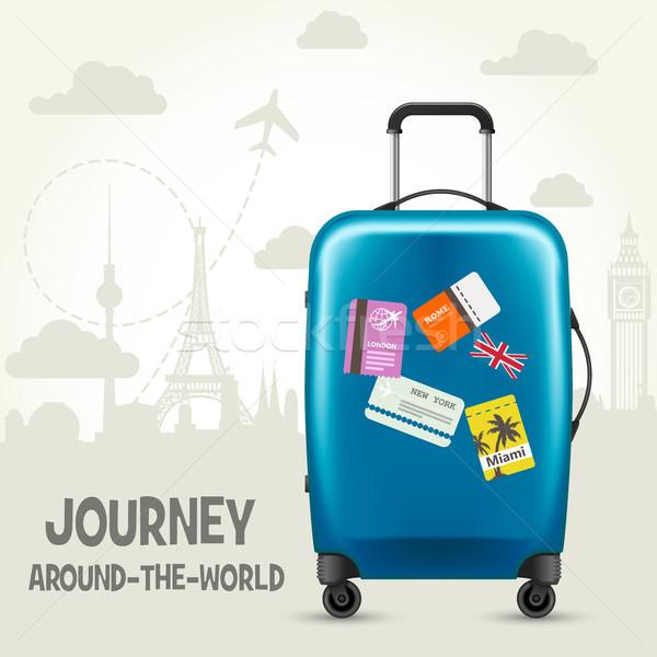 Modern mavi plastik bavul avrupa turizm Stok fotoğraf © gomixer