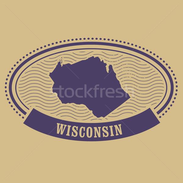 Wisconsin kaart silhouet ovaal stempel reizen Stockfoto © gomixer