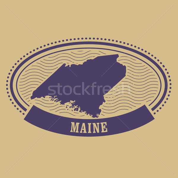 Maine harita siluet oval damga seyahat Stok fotoğraf © gomixer