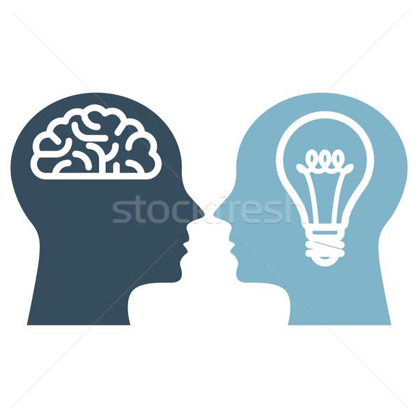 Elme mesterséges intelligencia szellemi tulajdon sziluett gondolkodik villanykörte Stock fotó © gomixer