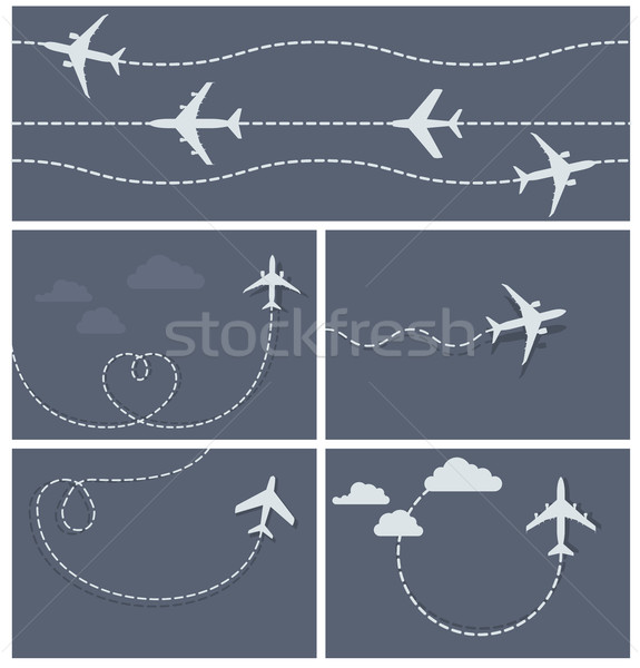 Stock photo: Plane flight - dotted trace of the airplane, heart-shaped and lo