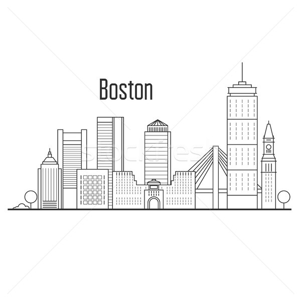 Boston city skyline - downtown cityscape, city landmarks in line Stock photo © gomixer