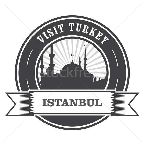 Istanbul stamp with silhouette of mosque - visit Turkey Stock photo © gomixer