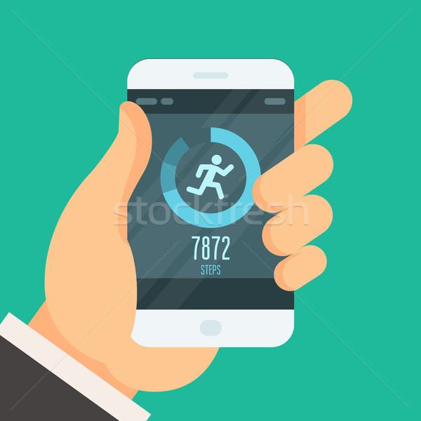 Smartphone fitness tracker app  - lose weight Stock photo © gomixer