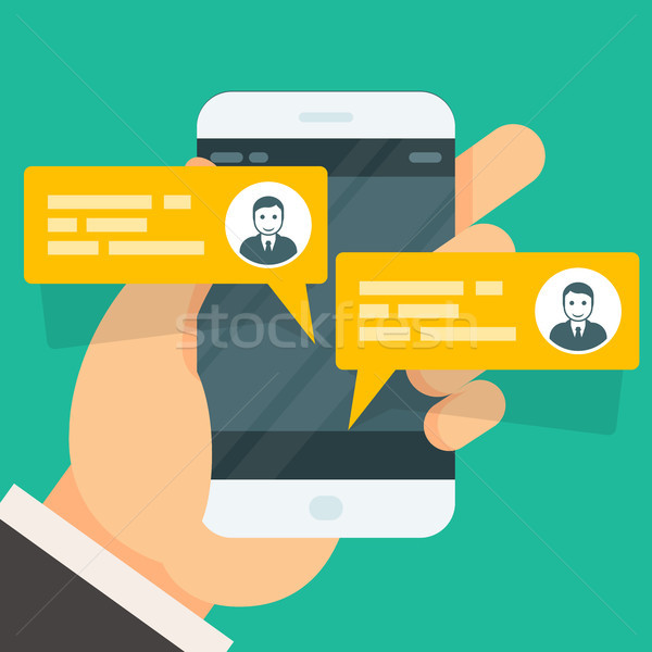 Incoming messages on smartphone screen - chat conversation Stock photo © gomixer