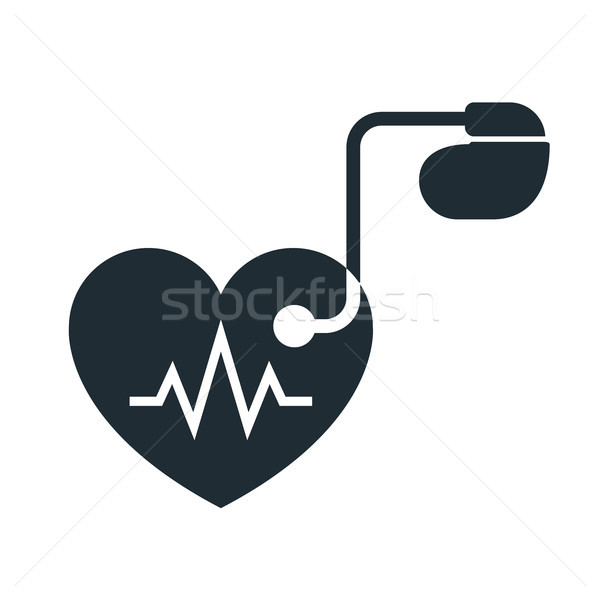 Artificial cardiac pacemaker icon with pulse tracing Stock photo © gomixer