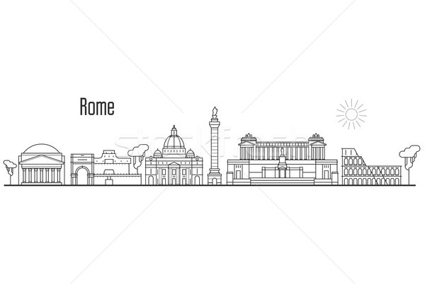 Rome and Vatican city skyline - cityscape with landmarks in line Stock photo © gomixer