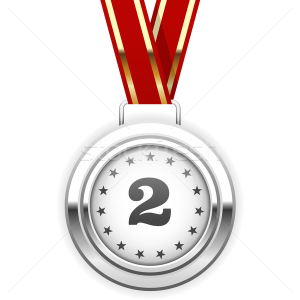 Winner silver medal on ribbon - second place  Stock photo © gomixer