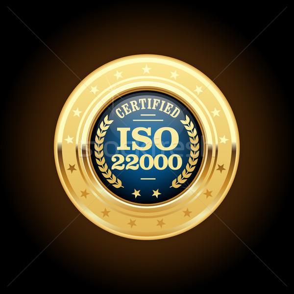 Iso estándar medalla inocuidad de los alimentos gestión metal Foto stock © gomixer