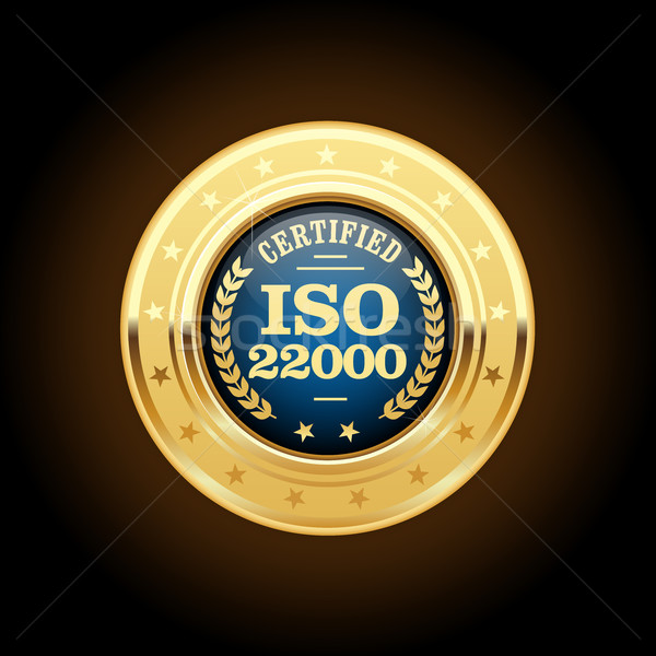 Iso standaard medaille voedselveiligheid beheer metaal Stockfoto © gomixer