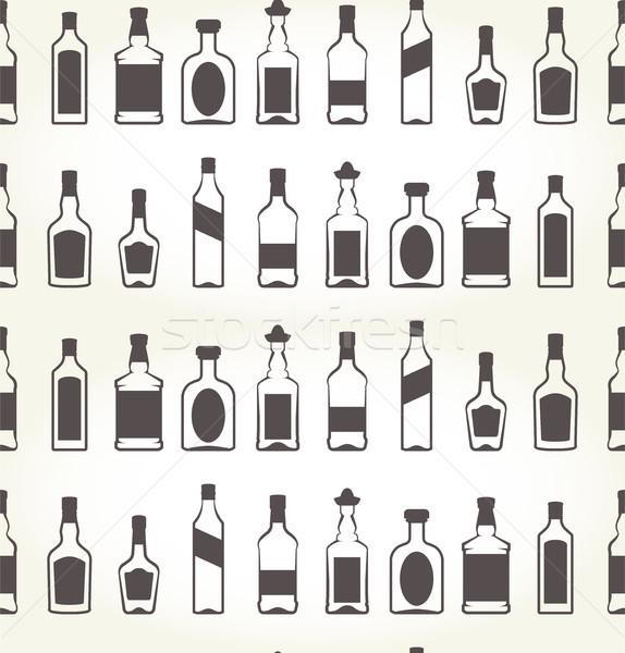 Alkoholu bezszwowy gorzałka tle bar butelki Zdjęcia stock © gomixer