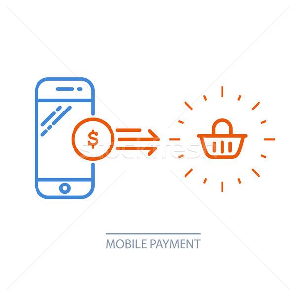 Mobil fizetés okostelefon bevásárlókocsi online vétel Stock fotó © gomixer