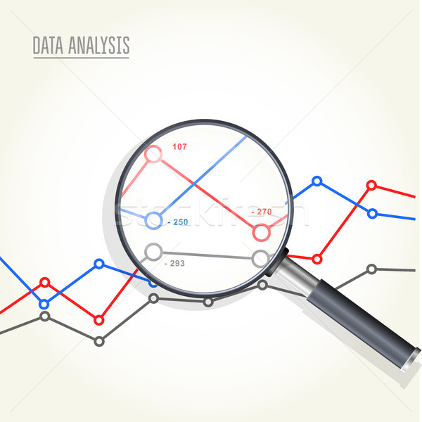 Magnifying glass over charts - data statisics research, stock ma Stock photo © gomixer