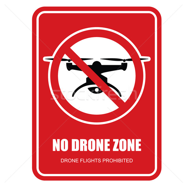 No drone zone restrictive sign - quadcopter flights prohibited Stock photo © gomixer