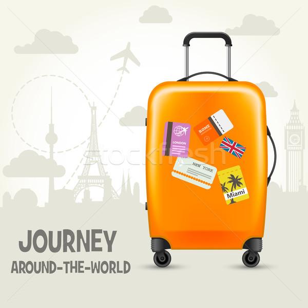Modern bőrönd utazás címkék körül világ Stock fotó © gomixer