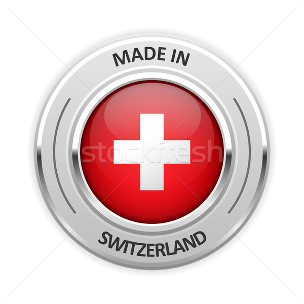 Silver medal Made in Switzerland with flag Stock photo © gomixer