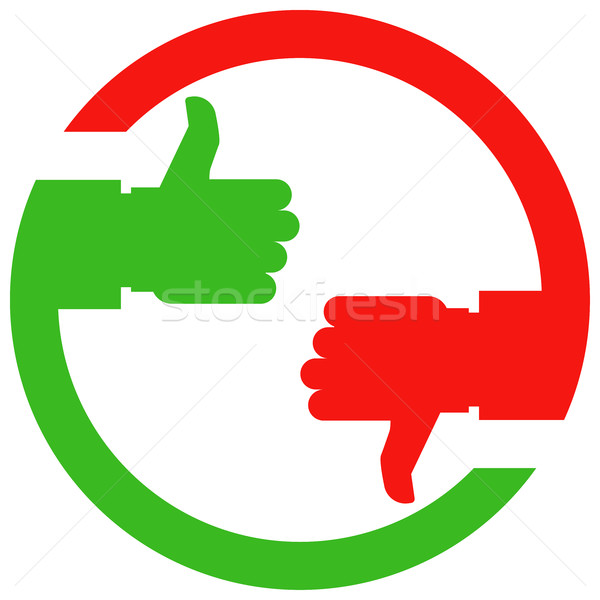 Thumb up and thumb down hands - vote or choice icon Stock photo © gomixer