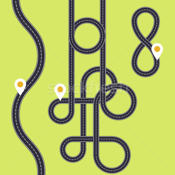 Road interweaving of loops - highway interchange with knots Stock photo © gomixer