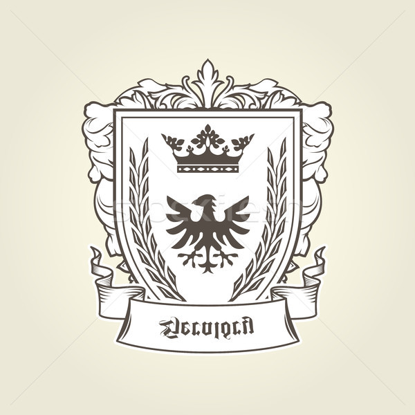 Stock photo: Coat of arms with heraldic eagle on shield, imperial emblem