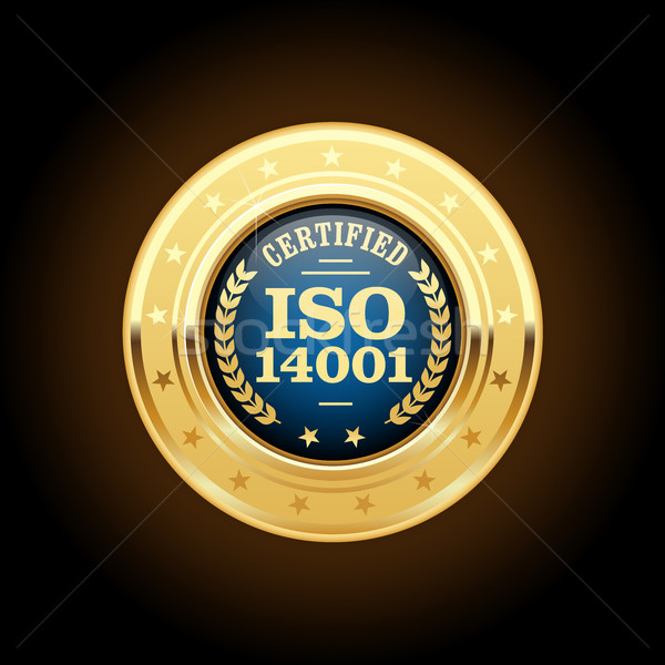 ISO 14001 certified medal - quality standard golden insignia Stock photo © gomixer