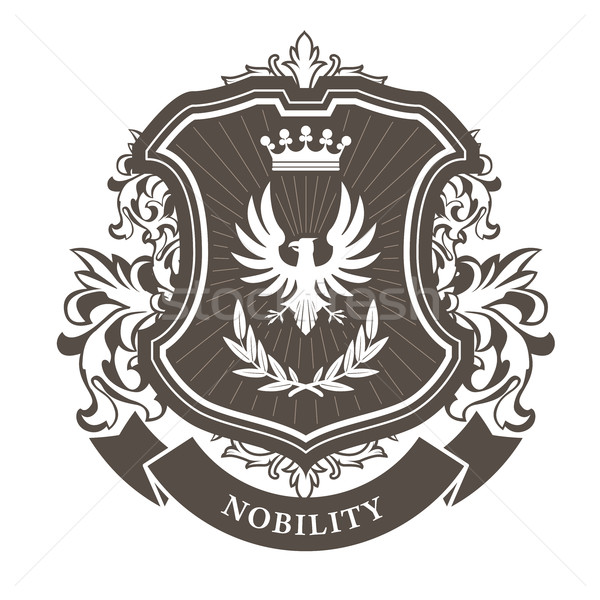 Monarchy coat of arms - heraldic royal emblem shield with crown  Stock photo © gomixer