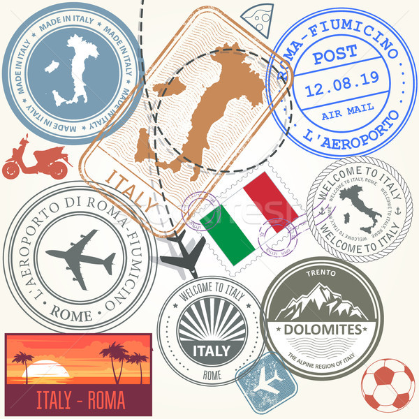 Travel stamps set - Italy and Rome journey symbols Stock photo © gomixer