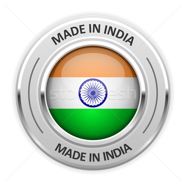 Silver medal Made in India with flag Stock photo © gomixer