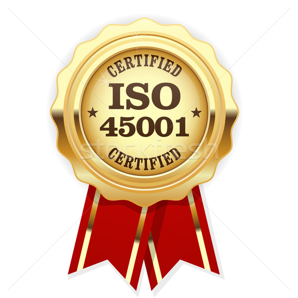 ISO 45001 standard certified rosette - occupational health and s Stock photo © gomixer