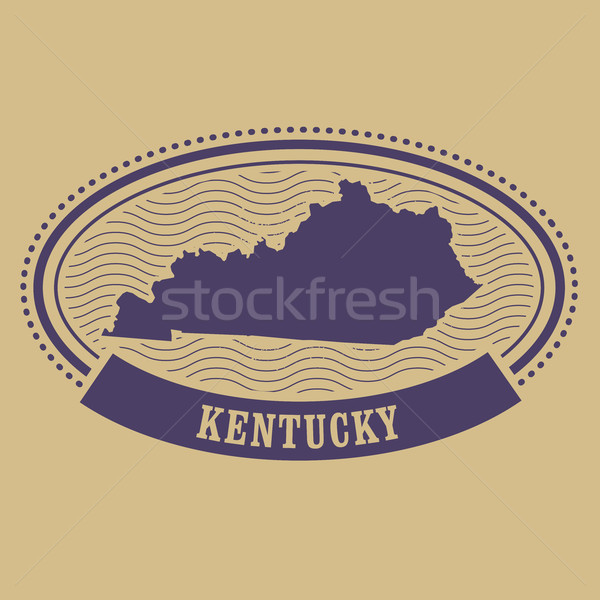 Kentucky map silhouette - oval stamp Stock photo © gomixer